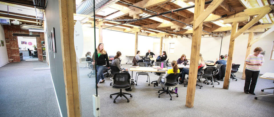 Nonprofit meetup, working space, teamwork, focus