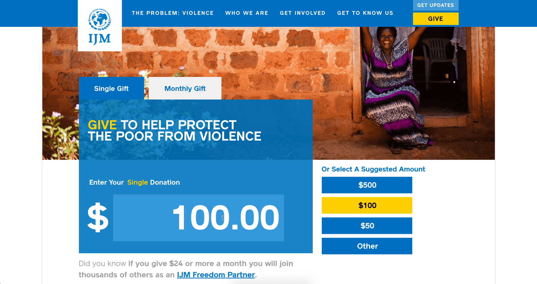 International Justice Mission Donation Page