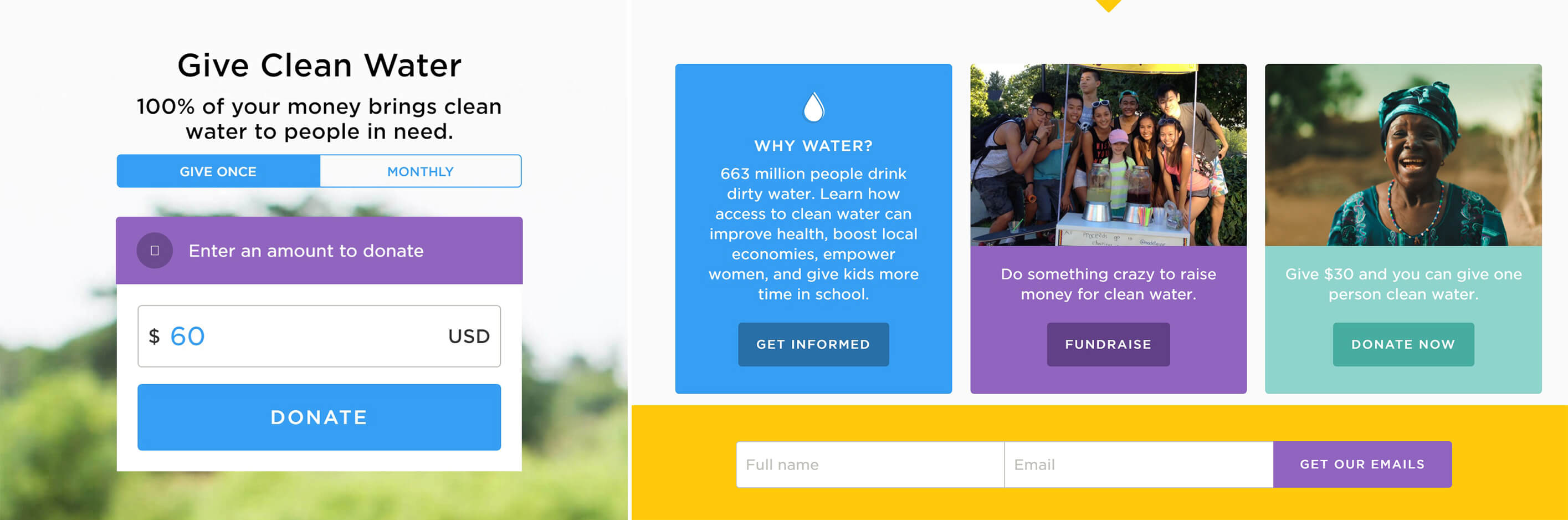 How Did Charity Water's Site Help them Raise 30 Million Dollars? calls to action