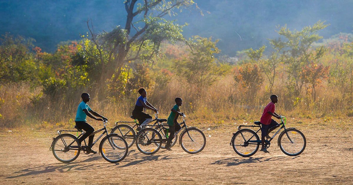world bicycle relief group of children on bicycles