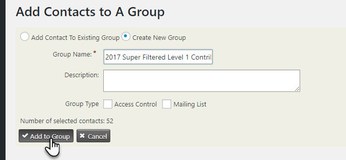 Add Contacts to New Group Title and Details CiviCRM Screen Shot