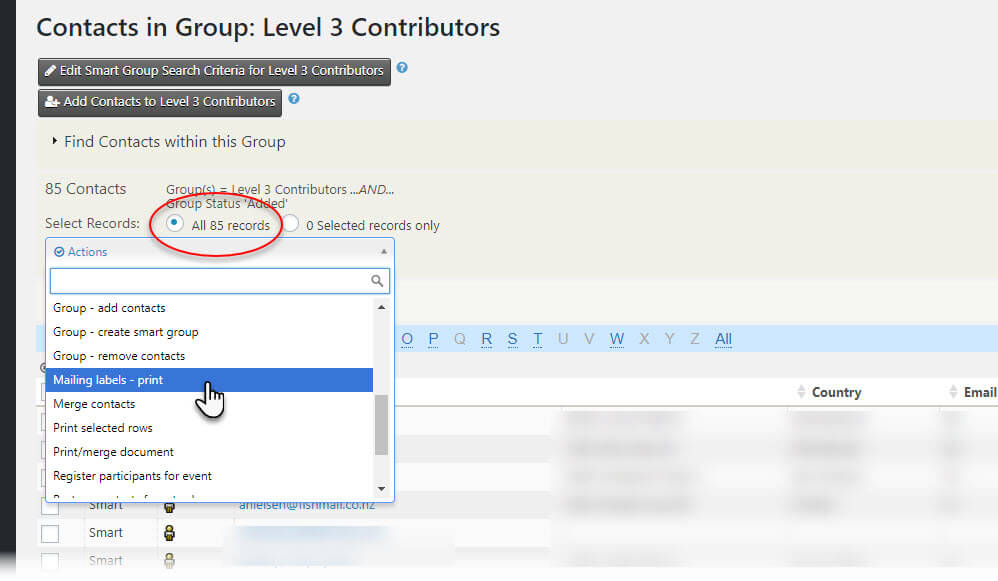 Choose Action for Group CiviCRM Screen Shot