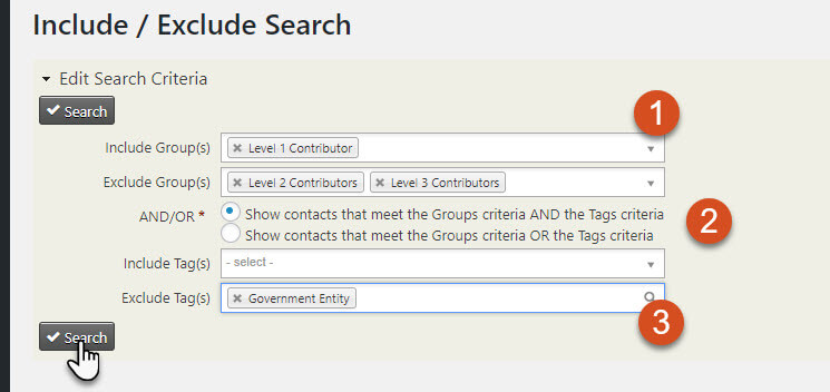 Create Include Exclude Search CiviCRM Screen Shot