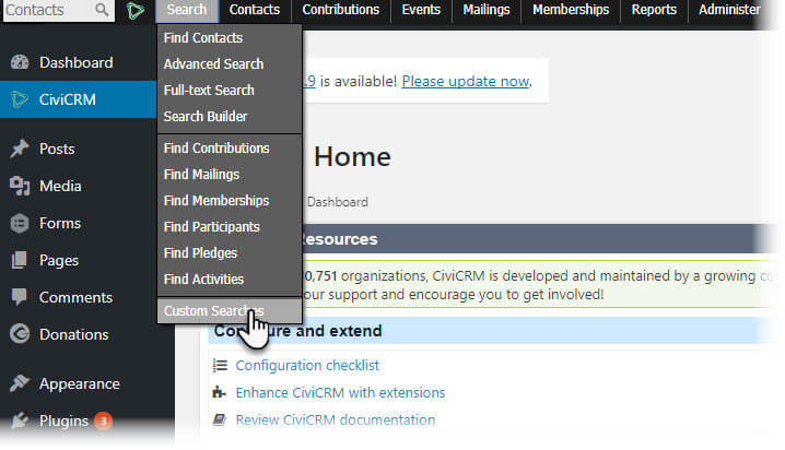 Custom Search CiviCRM Screen Shot