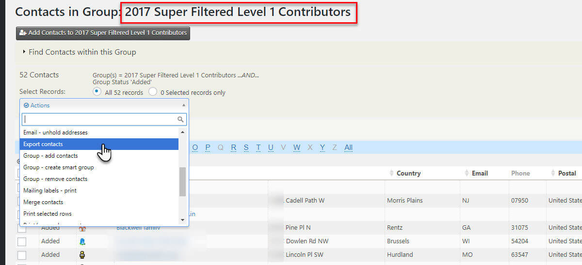 Export to CSV CiviCRM Screen Shot