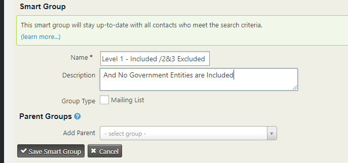 Name and Details for Super Smart Group CiviCRM Screen Shot