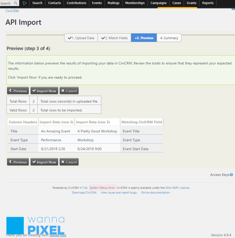 Preview Your API Import, Step 3 of 4