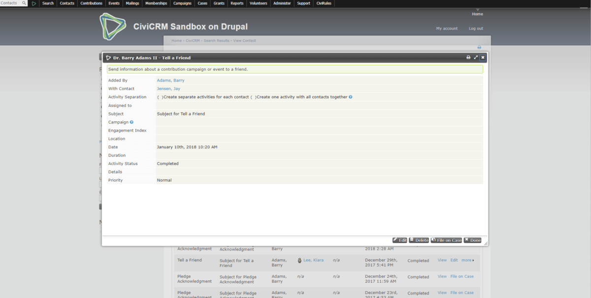 CiviCRM Activities Before Screenshot 2 - Modal Window Popup