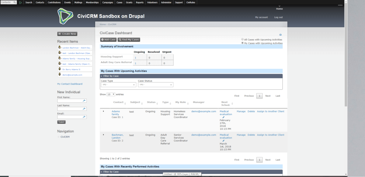 CiviCRM Cases Screenshot - Before View