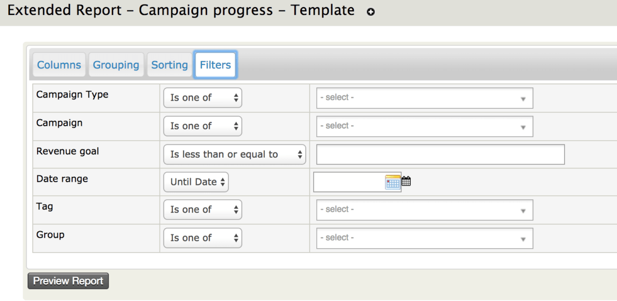 Filters for Extended Campaign Progress Reports in CiviCRM