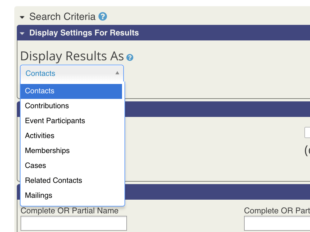 Choose How to Display Search Results in CiviCRM