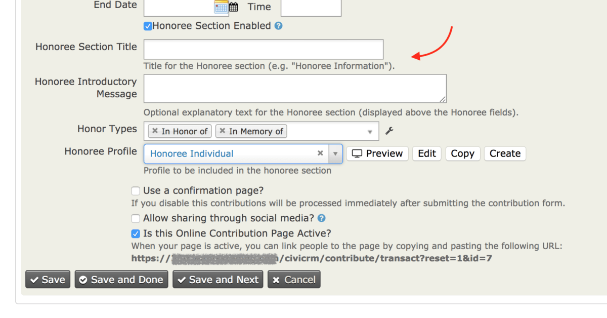 Enable Honoree Section for Donation Form