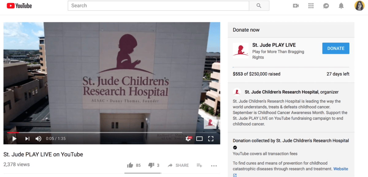 how St. Jude Children's Research Hospital is using the new YouTube Giving tools