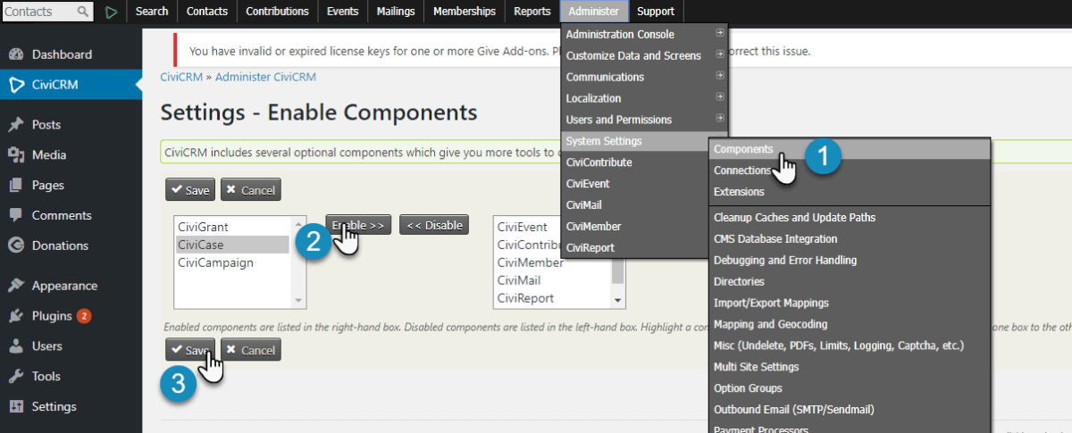 Enable CiviCases Component