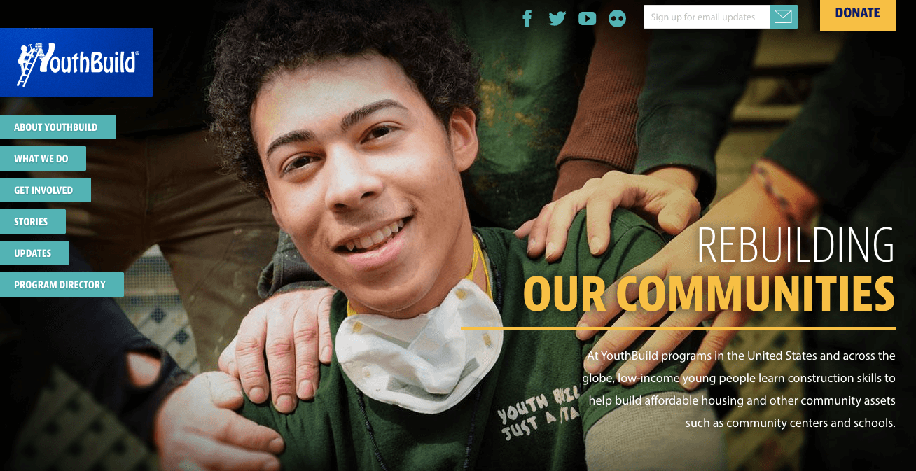 screen shot of youth build's home page